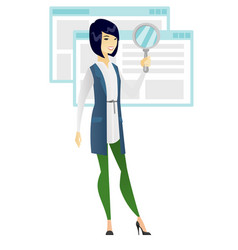 asian business woman with magnifying glass vector image