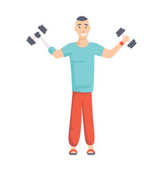 athlete with arm prosthesis lifts dumbbells vector image