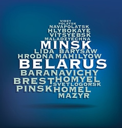 Belarus map made with name of cities vector
