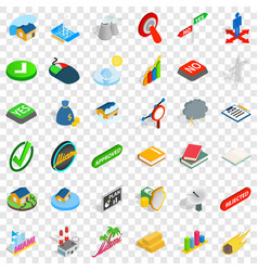 Big building icons set isometric style vector