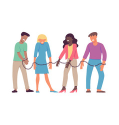 Bound by one chain people vector