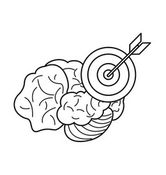 Brain target business outline vector