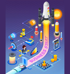 business start isometric composition vector image
