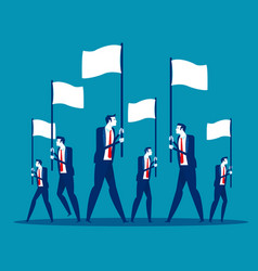 business team holding flag concept vector image