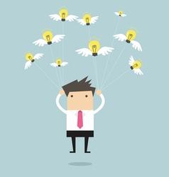 Businessman fly with idea bulb vector