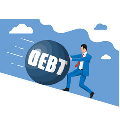 businessman pushing away big debt weight vector image