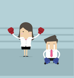 Businesswoman standing in boxing ring as winner vector