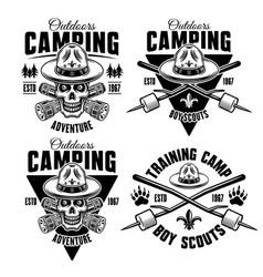 camping set four monochrome emblems vector image
