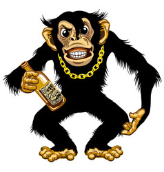 Cartoon chimp holding bottle rum vector