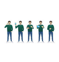 casual man with phone vector image