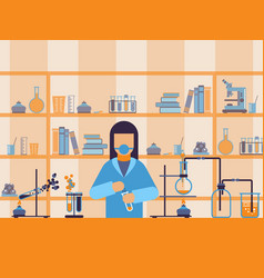 chemist at work in laboratory flat style vector image