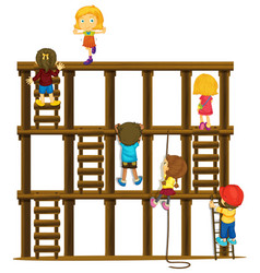 Children climbing up the wooden ladders vector