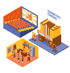 cinema isometric compositions set vector image