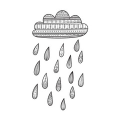Cloud with decorated rain drops vector