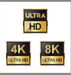 Collection of full hd 4k 8k and ultra hd icons 02 vector