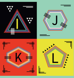 colorful capital letters i j k and l line emblems vector image