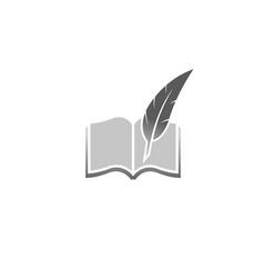 Creative abstract book feather logo design symbol vector