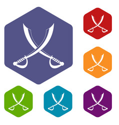 Crossed sabers icons set hexagon vector