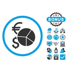 Currency Pie Chart Flat Icon with Bonus vector