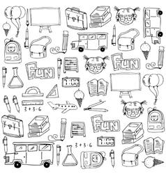 Cute hand draw school doodles vector