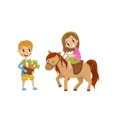 Cute litlle girl riding a horse boy standing next vector