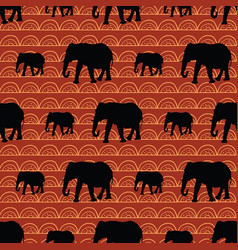 Cute seamless elephants pattern with geometric vector