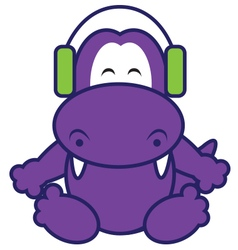Dinosaur Listening Music vector