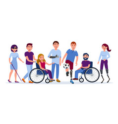 disabled people with disabilities and prosthesis vector image