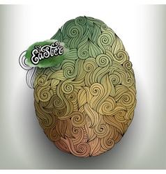 Doodles ornament easter egg background vector image