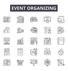 event organizing line icons signs set vector image