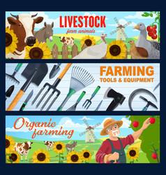 farmer farm animal tool and equipment banners vector image