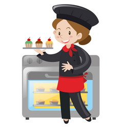 Female baker with cupcakes vector