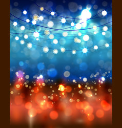 Festive light background with bokeh and stars vector