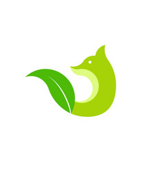 fox and leaf green logo vector image