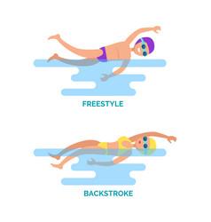 Freestyle backstroke swimmers vector