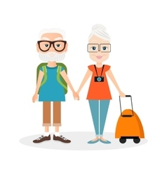 Grandfather and grandmother with a packsack travel vector