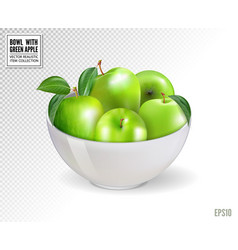 Green apples in white bowl isolated on vector