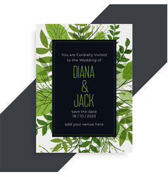Green leaves nature style wedding card design vector