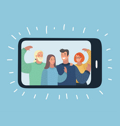 group people wave from display of smartphone vector image