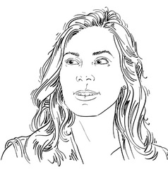 Hand-drawn portrait of white-skin woman face vector