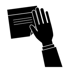 hand human with document paper isolated icon vector image