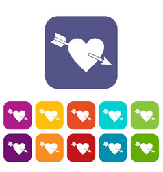 Heart with arrow icons set flat vector