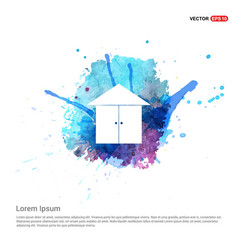 Home or house icon - watercolor background vector