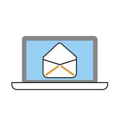 laptop computer with envelope mail vector image