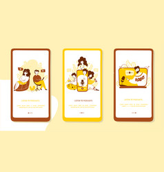 listening to podcasts onboarding mobile app vector image