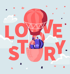 Love story poster with loving couple air balloon vector