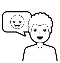 man with smile emoticon in speech bubble vector image