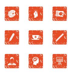 Mastermind icons set grunge style vector