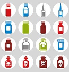 Medical bottles icon set vector