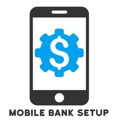 Mobile Bank Setup Icon With Caption vector